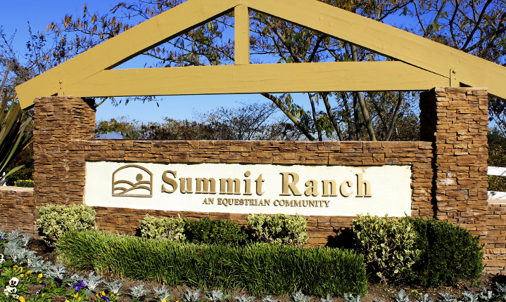summit ranch main entrance sign chino hills CA