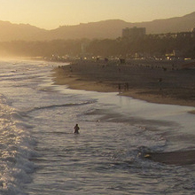 santa monica beach during sunset