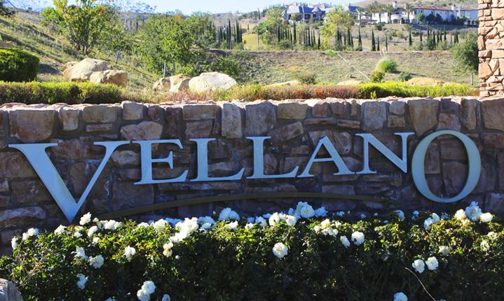 Vellano entrance sign in Chino Hills CA