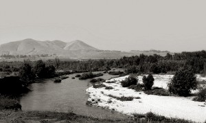 Black, and white image of the Santa Ana watershed.